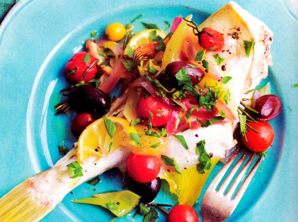 Poisson rôti aux tomates cerise et aux olives - mon régime