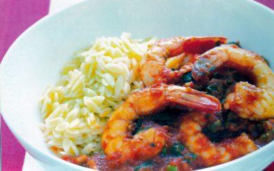 Crevettes à la tomate et à l'origan et riz complet de Camargue